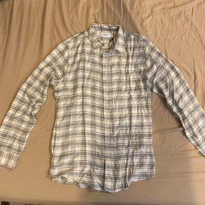 Onia Plaid Slim Gray Long Sleeve Button Up Shirt
